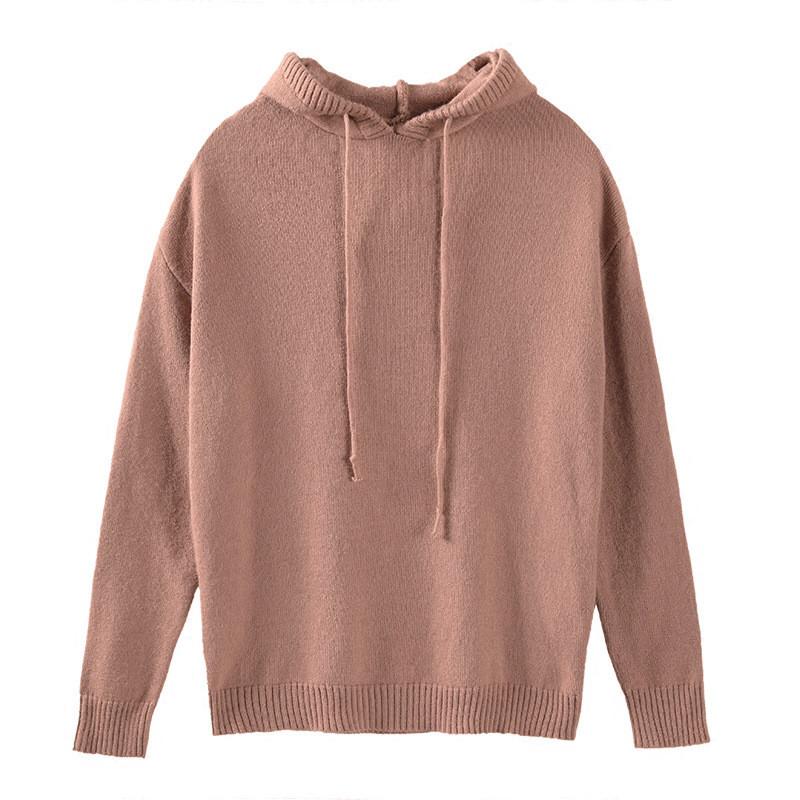带帽羊毛针织衫卫衣女套头韩版短款纯色打底连帽毛衣