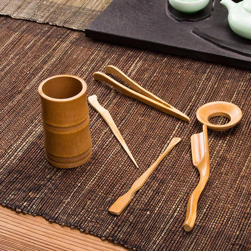 竹子茶道套装 杯垫 茶艺茶道配件 功夫茶具 竹印象茶道6件