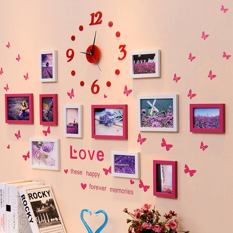 照片墙带钟表相框墙11框创意组合相片墙欧式客厅相框挂墙图片