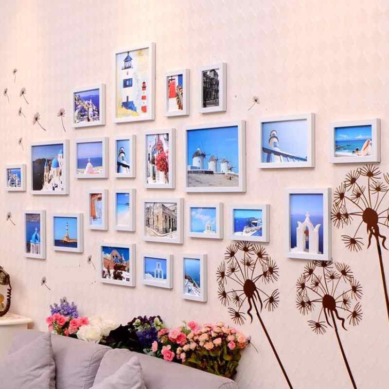 沙发背景墙相框个性时尚房卧室创意画框少女墙面实木照片墙