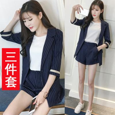 女装夏装职业装套装女时尚 西装+短裤+T恤条纹三件套