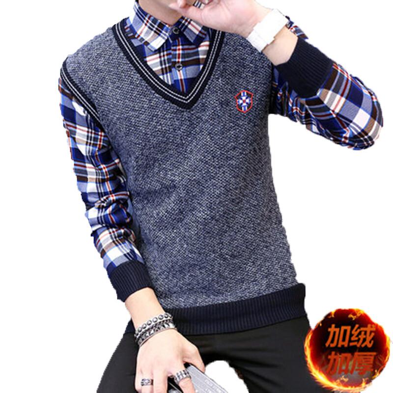秋冬男士加厚针织衫保暖衬衫加绒假两件男毛衣修身假2