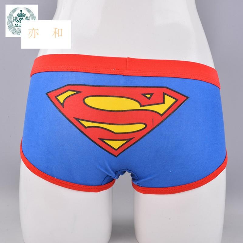 情侣超人内裤 全棉卡通情侣内裤 男女士可爱卡通