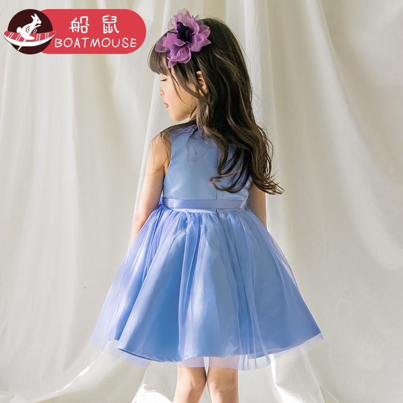 船鼠女童夏装2018新款裙子韩版童装女宝宝背心裙 儿童