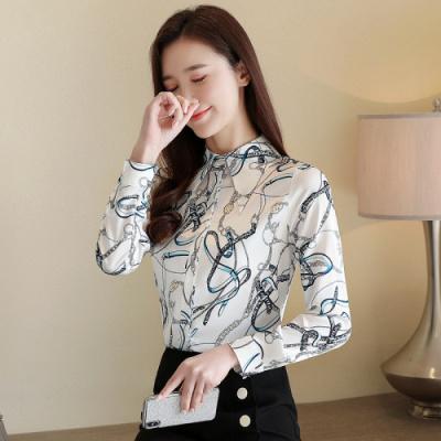 有怡2020春季新款复古印花柔滑常规款长袖花色雪纺衬衫上衣女