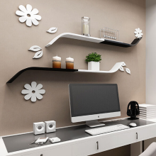 深海梦蝶墙上置物架创意j型隔板客厅背景墙面书架卧室墙壁搁板壁挂图片