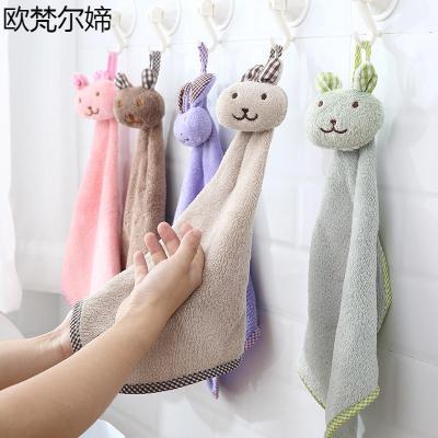 欧梵尔媂浴室挂式珊瑚绒可爱擦手搽手巾厨房抹布手帕双面加厚卡通吸水毛巾