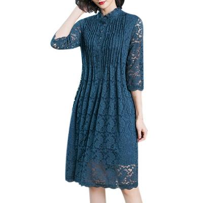 歌爱妮2019春季女装小立领中长款长袖蕾丝连衣裙时尚宽松腰打底裙