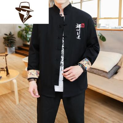 中国风男装秋冬装汉服中山装复古风外套仙气潮牌潮流青年唐装套装