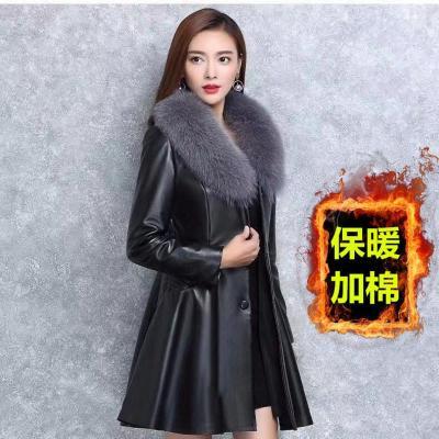 【苏宁优选】秋冬季海宁皮衣女士中长款皮草外套加厚棉衣修身欧洲站女装大衣