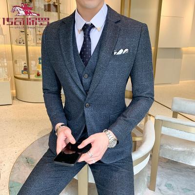 传奇保罗(CHUANQIBAOLUO)日系潮流男士西服套装复古时尚加大码修身西装马甲西裤男三件套装