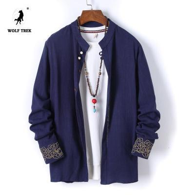 WOLF TREK 春夏季立领亚麻长袖衬衫男士休闲中国风刺绣小清新棉麻夹克