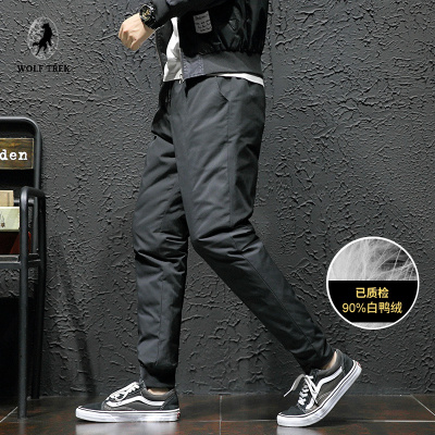 WOLF TREK 百搭舒适白鸭绒小脚羽绒裤冬季加厚外穿时尚青年男士羽绒棉裤