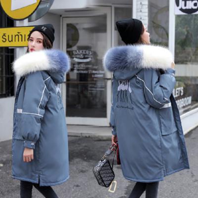 棉衣女中长款冬季新款加厚大毛领刺绣棉服外套青年学生宽松派克羽绒棉袄潮UYUK