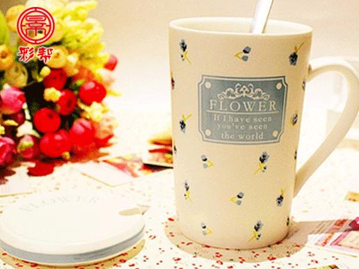 景德镇陶瓷水杯可爱创意杯子 马克杯带盖带勺陶瓷杯咖啡杯牛奶杯清新