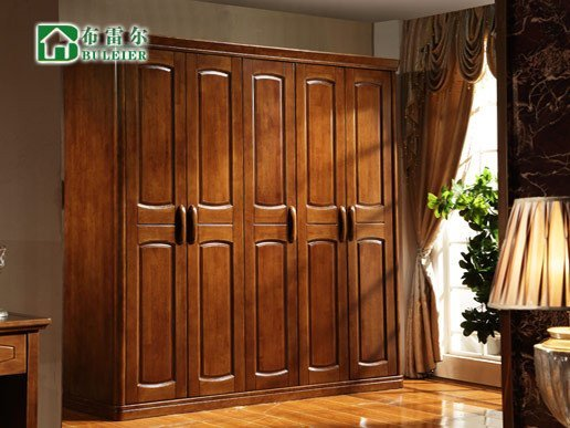布雷尔 4门橡木实木衣柜 卧室套房家具 简约中式