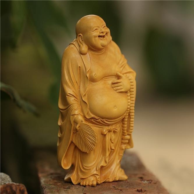 二手黄杨木雕居家雕刻工艺礼品手把件茶宠小摆件笑