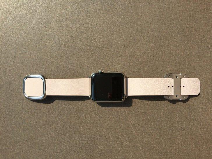 苹果手表iwatchapplewatch38mm浅粉色皮带现代风搭扣