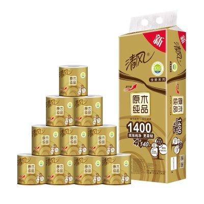 清风 原木纯品金装系列 卷纸 4层140克10卷