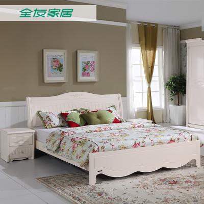 QuanU 全友 120611 韩式田园板式双人床