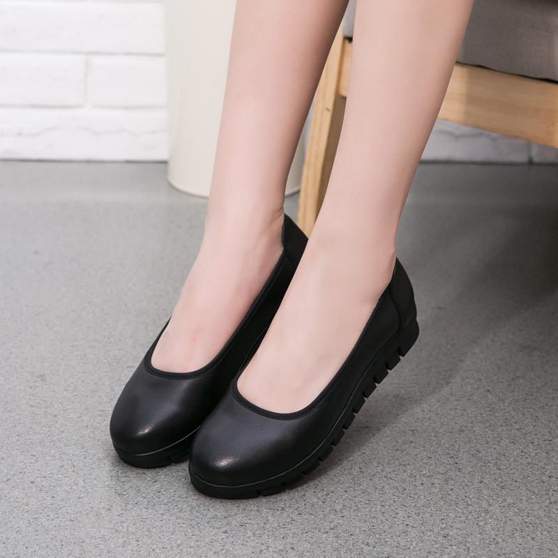 单夏舒适工作鞋女黑色中年女士皮鞋平底上班鞋