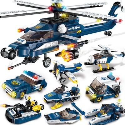 启蒙兼容乐高拼装积木军事8合1风暴武装直升机益智男孩玩具飞机