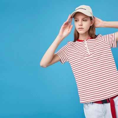 初语 夏季X型棉麻彩色条纹短袖T恤