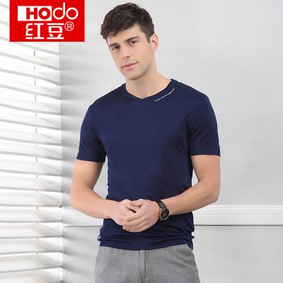 HODO 红豆 男士V领短袖T恤