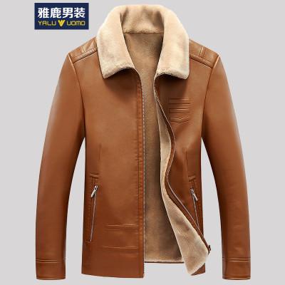 雅鹿男装皮衣男士秋冬季新款皮夹克加绒加厚保暖外套17651