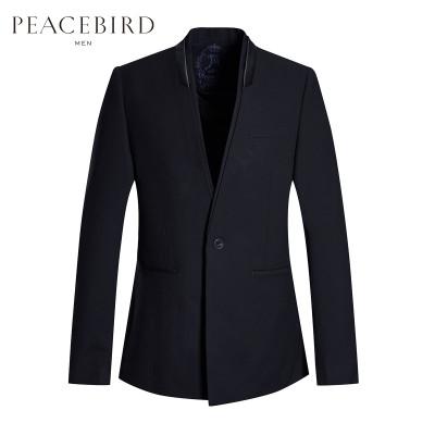 太平鸟男装 立领外套男韩版修身纯色西服