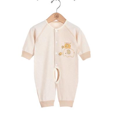 香港亿婴儿 婴儿宝宝幼童内衣婴幼儿通用连体衣春秋款纯棉宝宝天然彩棉哈衣爬服59cm-73cm Y3017