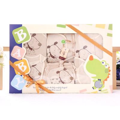 香港亿婴儿 婴儿内衣礼盒彩棉新生儿满月礼盒婴幼儿通用婴儿衣服套装10件套 Y7019