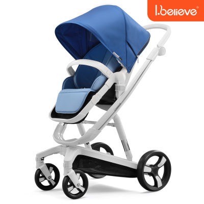 Ibelieve爱贝丽婴儿推车高景观可坐躺可换向避震折叠宝宝车智能版可自动刹车更安全0-3岁适用承重15KG+【未来】