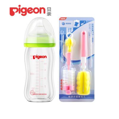 贝亲AA72宽口径玻璃奶瓶160ml绿色带SS号奶嘴+格朗奶瓶刷粉色套餐