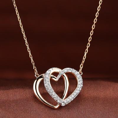 SWAROVSKI施华洛世奇双爱心心心相印水晶项链 人造水晶 送恋人5194826