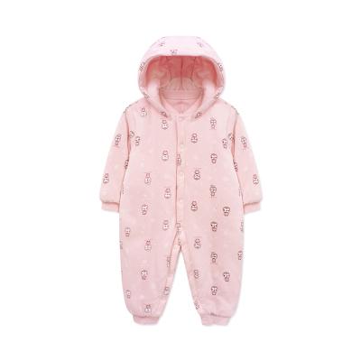 婴姿坊冬季宝宝加厚按扣连体衣男女童婴幼连帽可拆夹棉哈衣爬爬服 2色可选 59-80cm 0-12个月