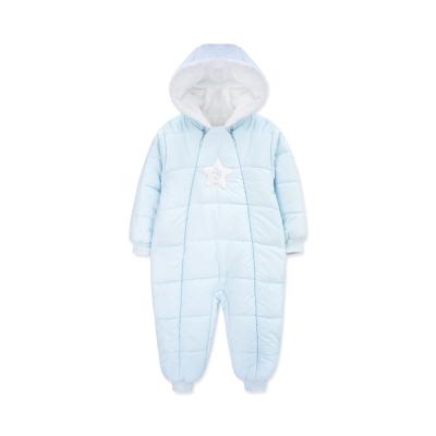 婴姿坊男女童冬季加绒夹棉加厚连体衣宝宝连帽隐形拉链前开爬爬服 2色可选 59-80cm 0-12个月