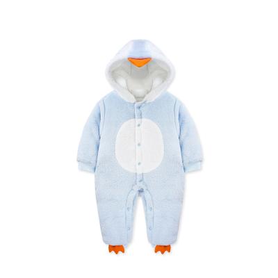 婴姿坊冬季男童女童连帽夹棉加厚连体衣新生宝宝可爱企鹅毛绒爬爬服 59-80cm 0-18个月