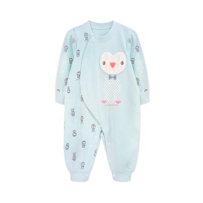 婴姿坊秋冬男女童婴幼儿连体衣长袖按扣爬爬服新生宝宝可爱企鹅哈衣 59-80cm 0-15个月