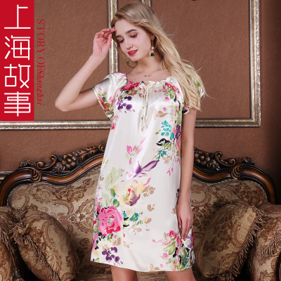 上海故事夏季仿真丝睡衣女宽松短袖家居服春秋冰丝睡裙可外穿