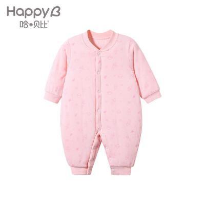 哈贝比(happyB) 婴儿衣服 新生儿连体衣冬 男女宝宝夹棉加厚保暖哈衣爬爬服婴幼儿内衣
