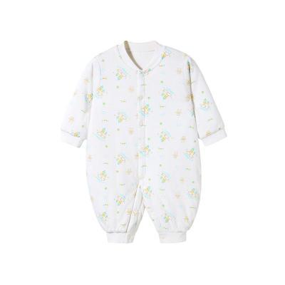 哈贝比(happyB) 婴儿衣服新生儿连体衣秋冬男女宝宝夹棉前开内衣哈衣爬爬服0-3个月