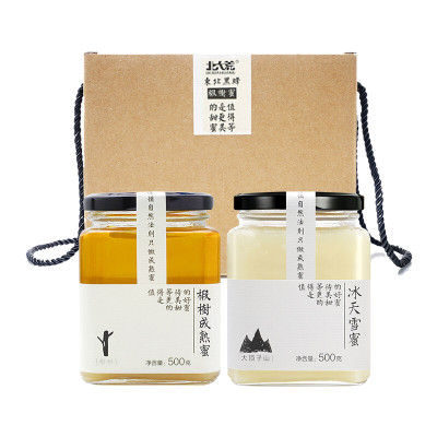 北大荒 东北黑蜂 椴树成熟蜜礼盒装1000g(冰天雪蜜500g+椴树成熟蜜500g)