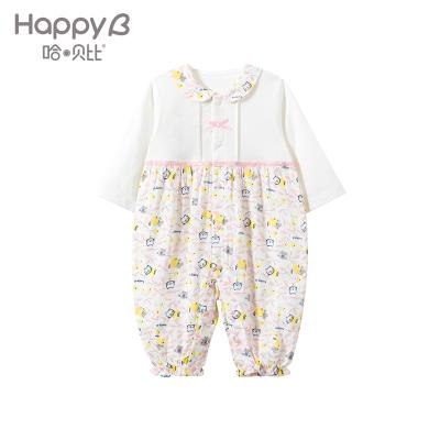 哈贝比(happyB)婴儿衣服春秋外出服初生儿纯棉爬爬服女宝宝长袖连体衣