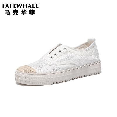 马克华菲女士单鞋2019年新款运动休闲网面透气轻便小白鞋