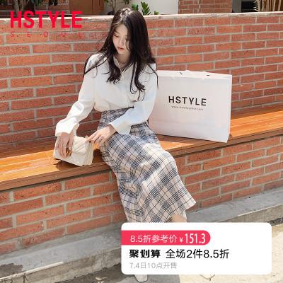 韩都衣舍2019韩版女装秋装新款格子A字中长款半身裙EQ12869��0629