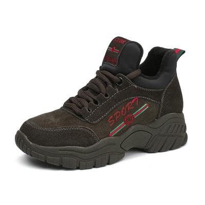 马克华菲个性字母图标内增高加绒女运动鞋厚底系带简约百搭女休闲鞋老爹鞋