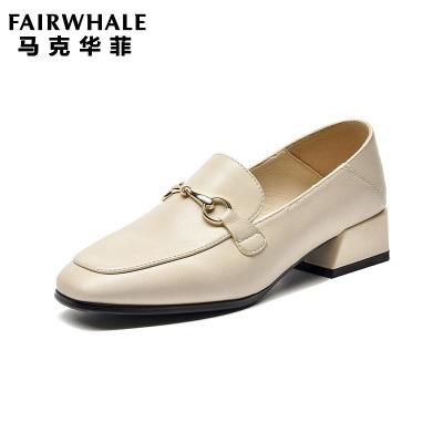 马克华菲2019秋款女穆勒鞋女粗跟女鞋单鞋女士单鞋女单鞋女鞋中跟单鞋软底舒适女鞋