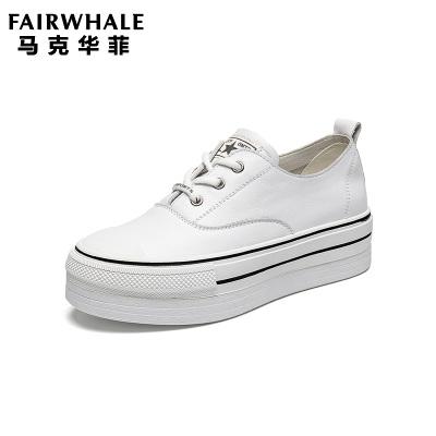马克华菲2019秋款女小白鞋女款板鞋百搭女鞋小白鞋女单鞋松糕女鞋厚底小白鞋