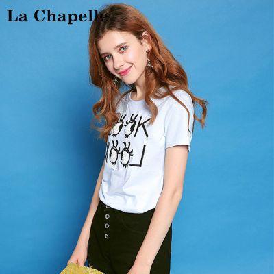 自营 拉夏贝尔Puella夏季女装新款休闲短款上衣学生圆领显瘦短袖T恤20300036